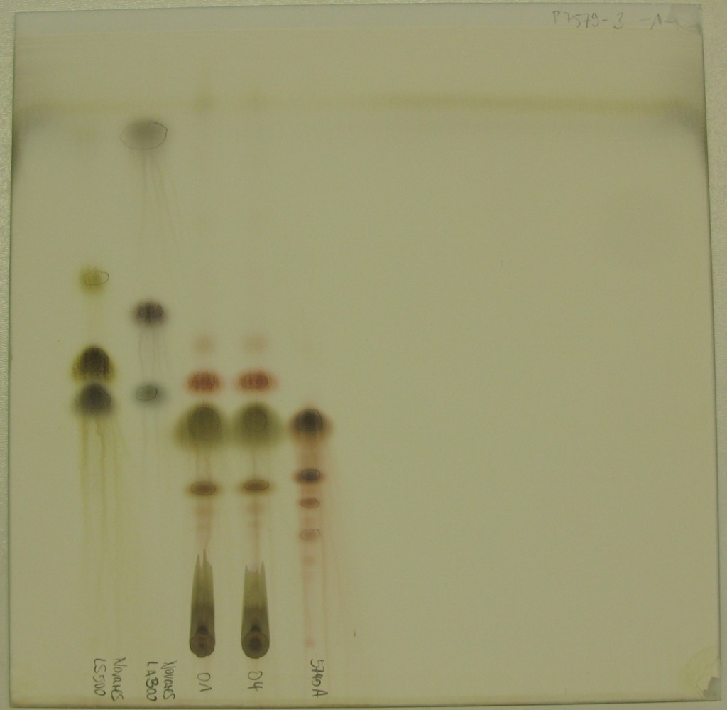 Dünnschichtchromatogramme von Epoxidharz-Härtern Test-Vergleichssubstanzen
